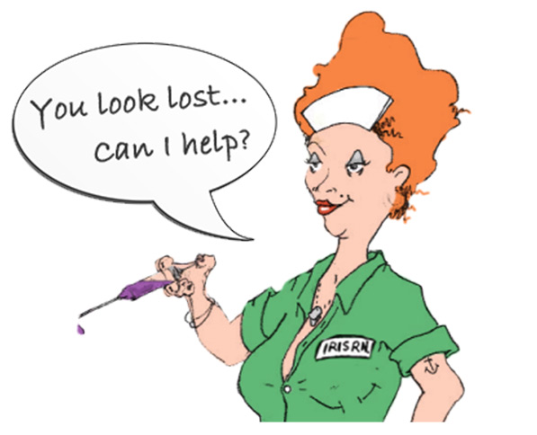 Nurse with speech bubble saying are you lost?