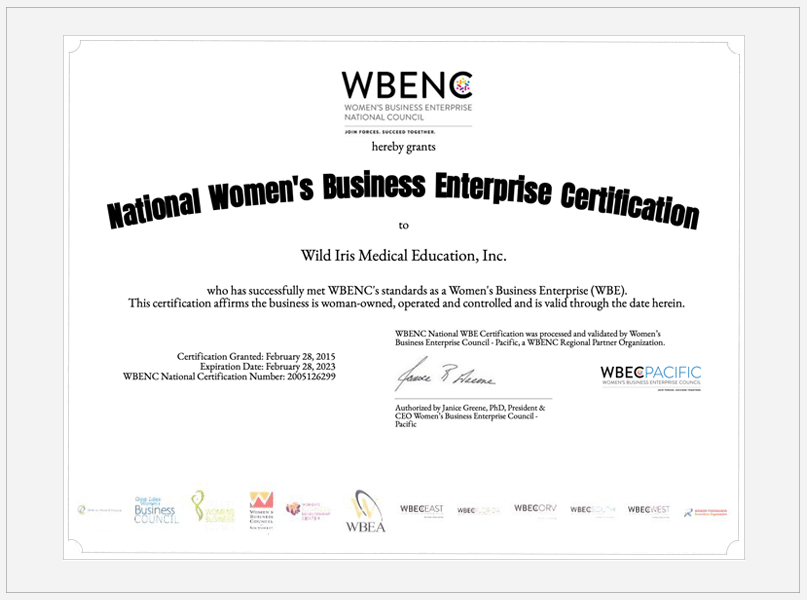 Wild Iris Women-Owned Business Certificate