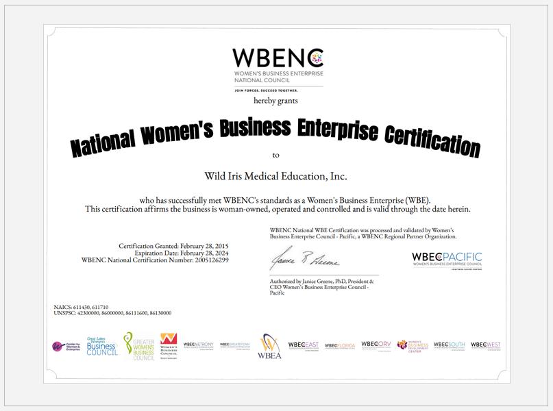 Wild Iris Women-Owned Business Certificate
